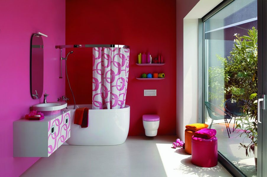 Baño moderno en rosa :: Imágenes y fotos