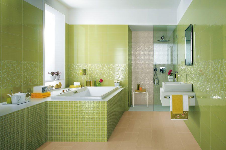 Cuarto de baño original en verde :: Imágenes y fotos