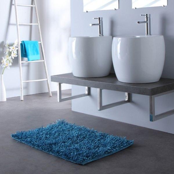 Galer a de im genes lavabos dobles o lavabos simples for Salle de bain bleu gris