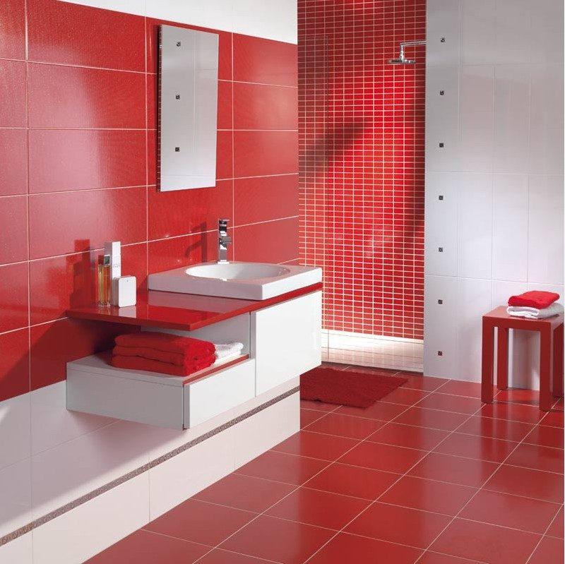 Mueble de baño moderno en rojo